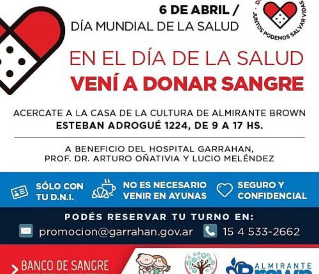EL MUNICIPIO DE ALTE BROWN CONVOCA A PARTICIPAR DE CAMPAÑA DE DONACIÓN DE SANGRE PARA HOSPITALES
