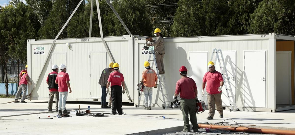 Avanza la construcción del hospital modular de emergencia de Alte Brown