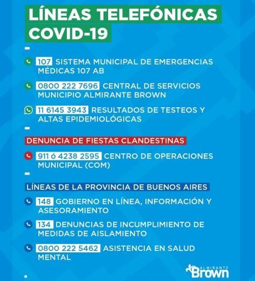 LÍNEAS TELEFÓNICAS COVID