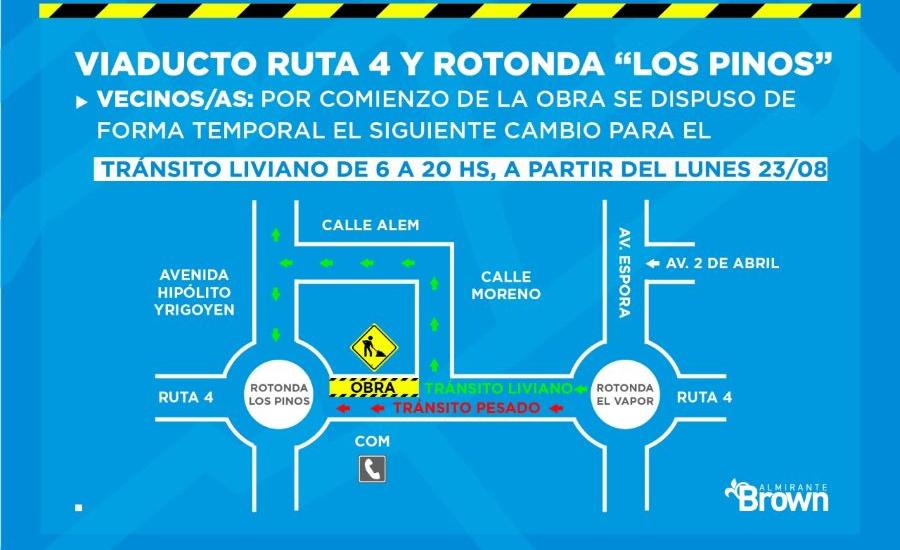 Arranca la obra del viaducto de Ruta 4 y restringen el tránsito en la Rotonda Los Pinos