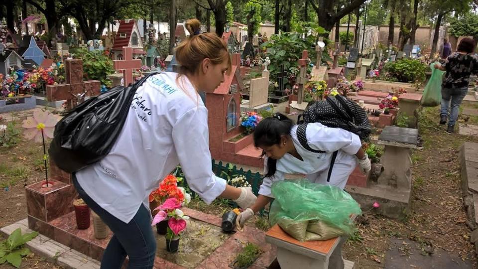 Operativo de descacharrización contra el dengue en el cementerio de Calzada