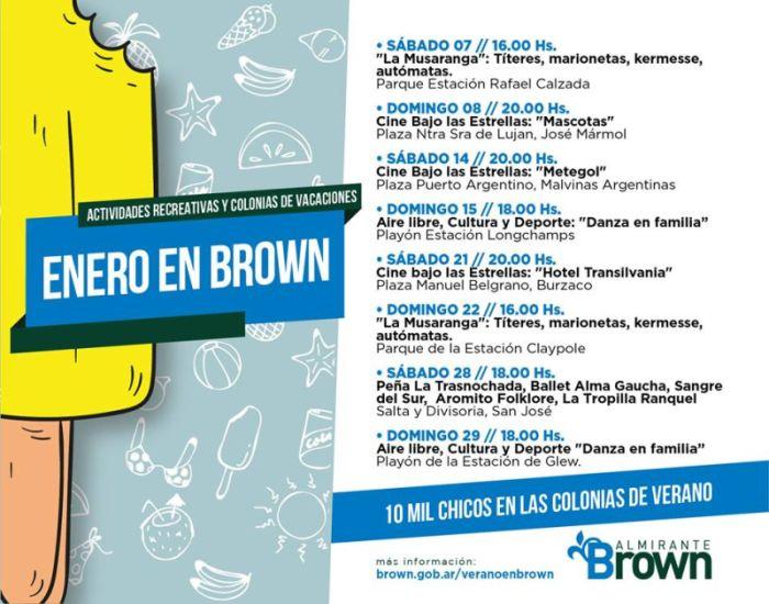 Enero en Brown: amplia agenda de espectáculos y encuentros recreativos