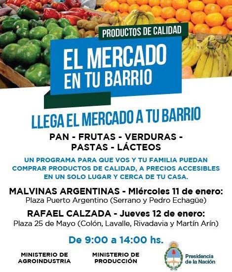 El mercado en tu barrio llega a Malvinas Argentinas y Calzada