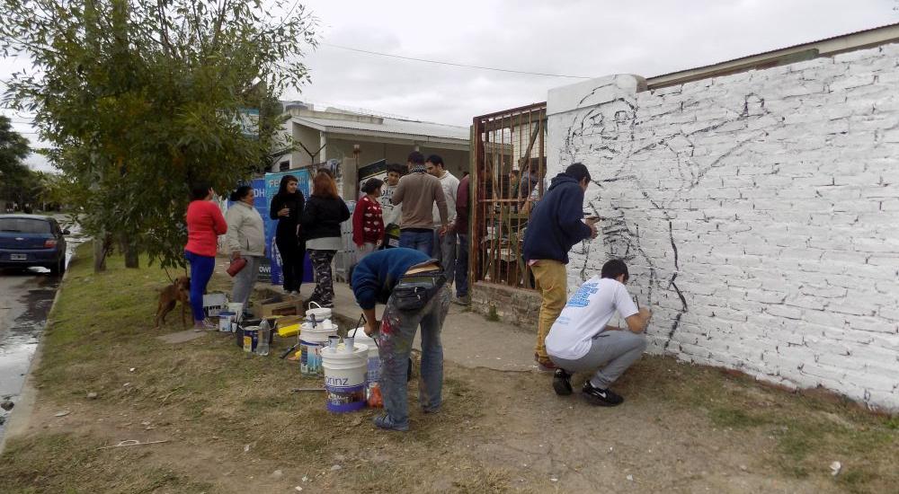 Mural en el centro de integración comunitario de José Mármol